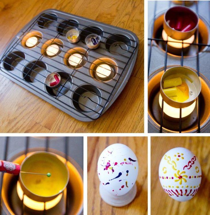 décoration d'œufs de Pâques à la cire- tutoriel photos pour faire fondre les crayons de cire