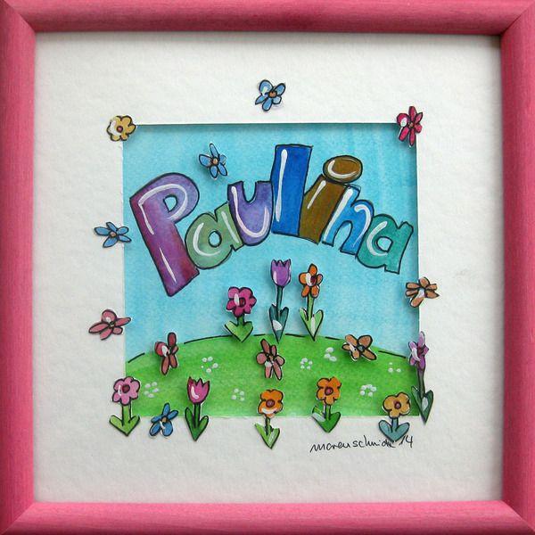 Namensbild zur Geburt - Kinderzimmerbild mit Namen von Maren Schmidt auf DaWanda.com