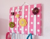 MEDIUM Rose Pink and White Polka Dots Hair Bow Holder Accessory Wall Organizer With Hooks for Headbands