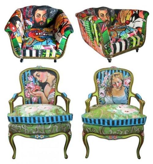 bij deze stoel vind ik de print heel leuk. Ik vind pop art echt heel leuk omdat het zo vrolijk is en gezellig staat