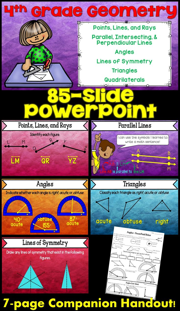 Cover the 4th grade geometry standards with this math PowerPoint. It includes a 7-page companion handout and 7 exit tickets. Lines, points, angles, quadrilaterals, lines of symmety, and more!