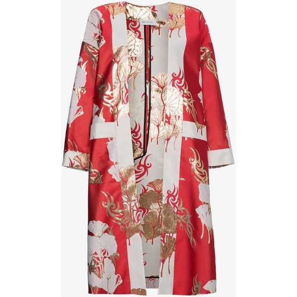 Beau Souci Red Silk Robe Kimono (11,300 AED) ❤ liked on Polyvore featuring intimates, robes, red, silk robe kimono, red kimono robe, red kimono, kimono robe and dressing gown