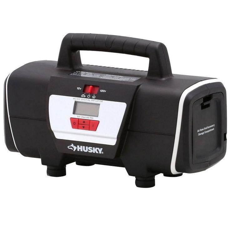 12 Volt/120 Volt Portable Home Auto Air Compressor Tire Toy Inflator #Husky