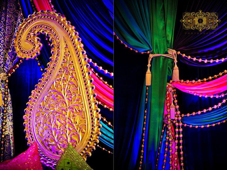 G+H Photography  http://www.GandHphotography.com  mehendi decor, wedding decor, paisleyG H Photography, Decor Wedding, Dreams Job, Bays Area, Mehendi Design, Color Inspiration, Mehendi Decor, Indian Style, Golden Beads