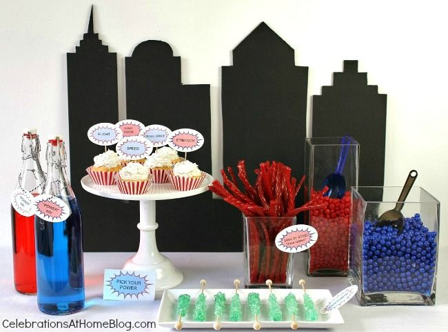 All you need are these 5 simple ideas for a fun Superman party. Super hero party ideas. Super hero dessert table.