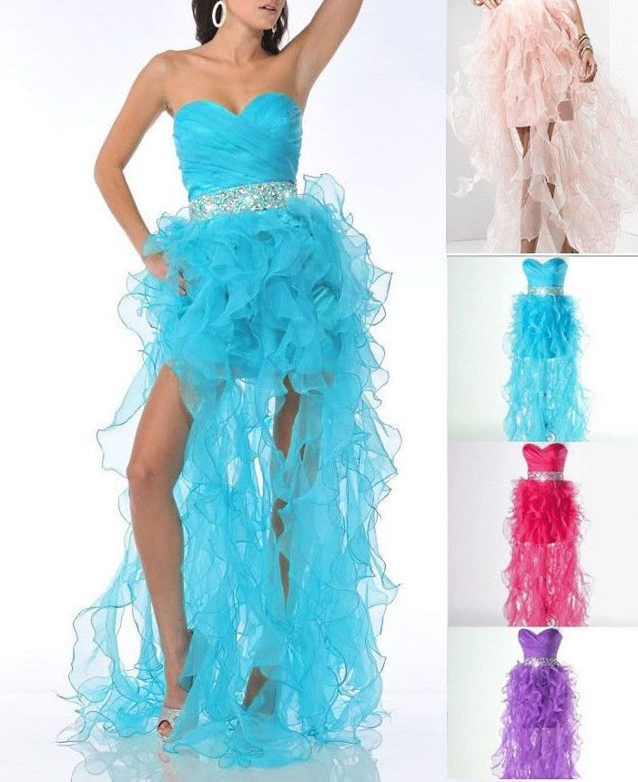 LONG-SHORT RUFFLES PROM PARTY EVENING DRESS BIRTHDAY HOMECOMING GOWN - ALL SIZES #HANDMADE #BallGown #Formal