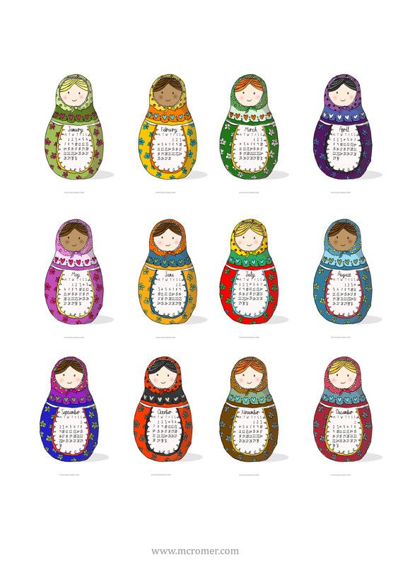 2014 Printable PDF Russian Dolls Calendar by designbirdie on Etsy