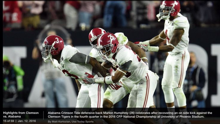 Alabama Crimson Tide's Marlon Humphrey celebrates with teammates after recovering an on sidekick. from USA Today - National Championship game in Glendale, Arizona Jan. 11, 2016 #Alabama #RollTide #BuiltByBama #Bama #BamaNation #CrimsonTide #RTR #Tide #RammerJammer #CFBChampionship #NationalChampionship