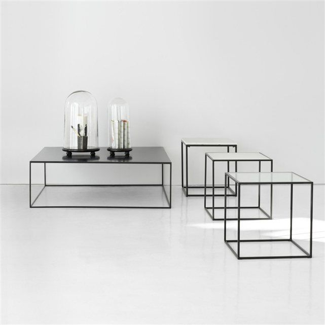 Bout de canapé métal laqué, plateau verre transparent ou blanc Romy AM.PM