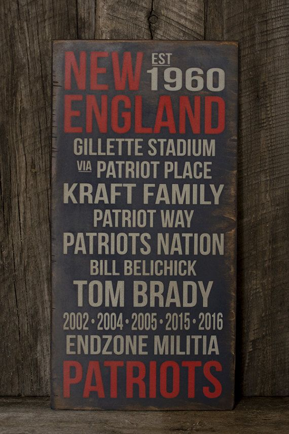 This New England Patriots sign is painted on a blue, distressed background. It comes with a sawtooth hanger attached to the back, and is ready to hang. This sign does NOT have a sealant on it, and is not recommended for outdoors.  DETAILS: • red and grey on blue background • made of Baltic Birch • 5/8 thickness • 10 (w) x 20 (h)  I do accept orders for custom variations on size and color. *Price will vary on custom orders.  PLEASE NOTE: No two signs will be EXACTLY alike. Each one is pai...
