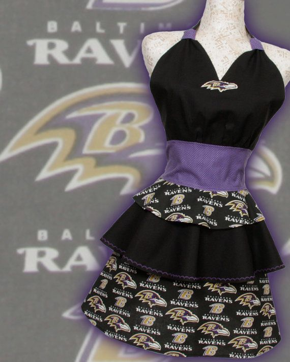 Baltimore Ravins Apron tiers of NFL Ravens Football by apronqueen, $34.95