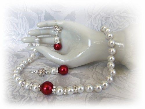 Red White Bridal Necklace Earrings - Bridal Pearl Jewelry  | All4Brides - Wedding on ArtFire