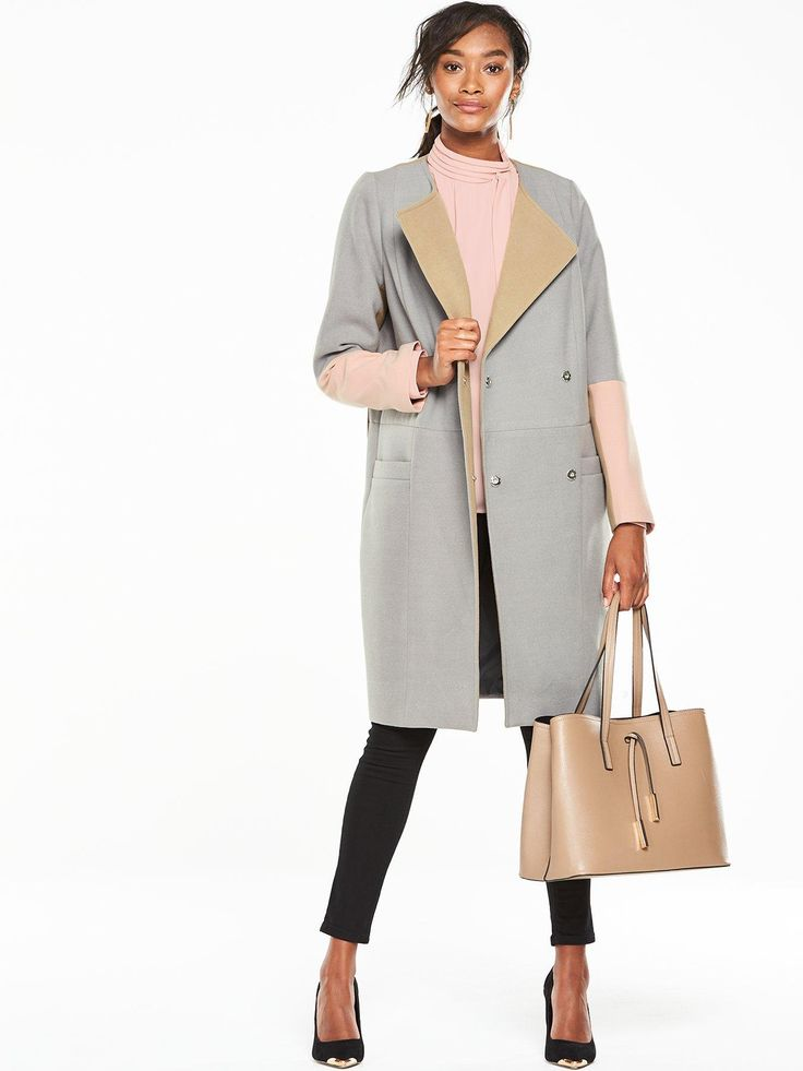 V by Very Premium Colourblock Boyfriend Coat - Grey  Hit refresh on your…