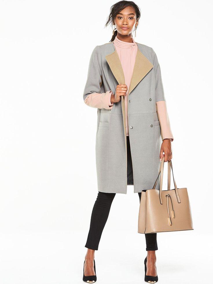 V by Very Premium Colourblock Boyfriend Coat - Grey Hit refresh on your…