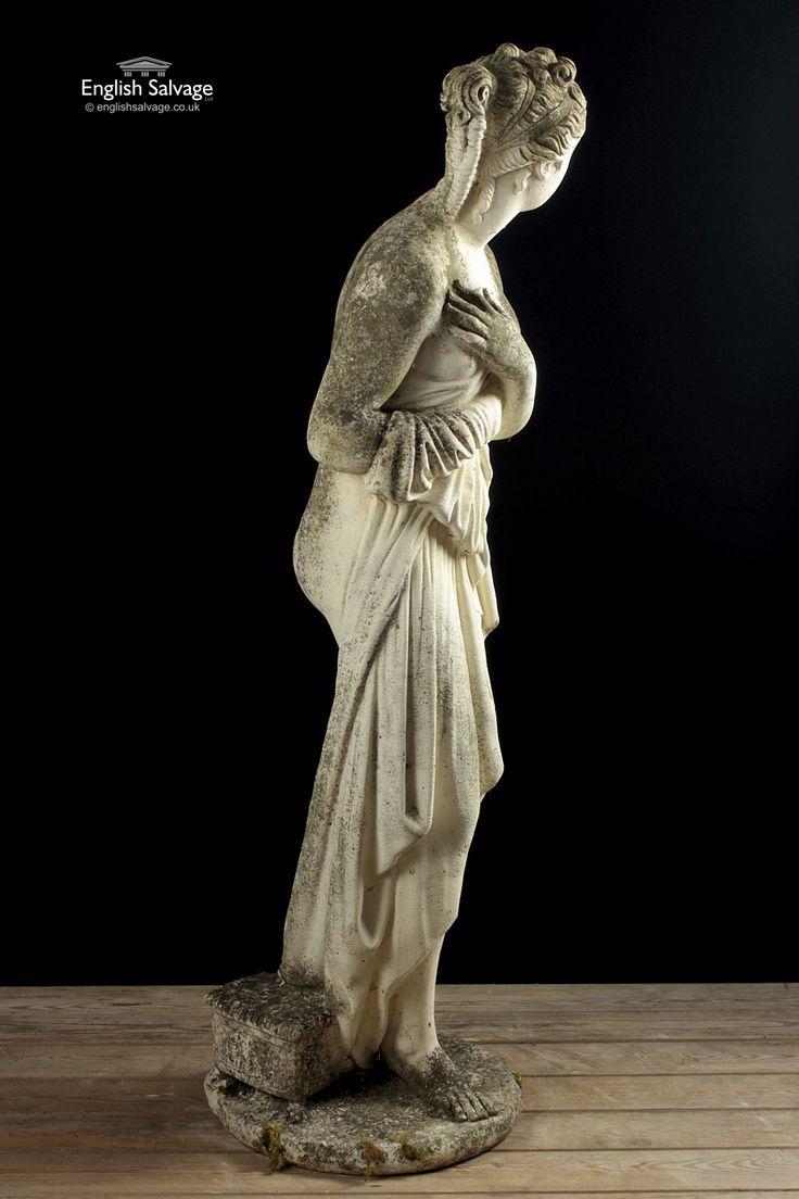 Reclaimed Composition Stone Pandora Statue Goddess