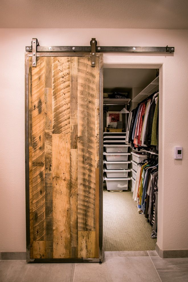 farmhouse style dressing room with sliding barn door with hardware railing system modern walk in closet in white of Dozens of Walk In Closet Organizers Lowes