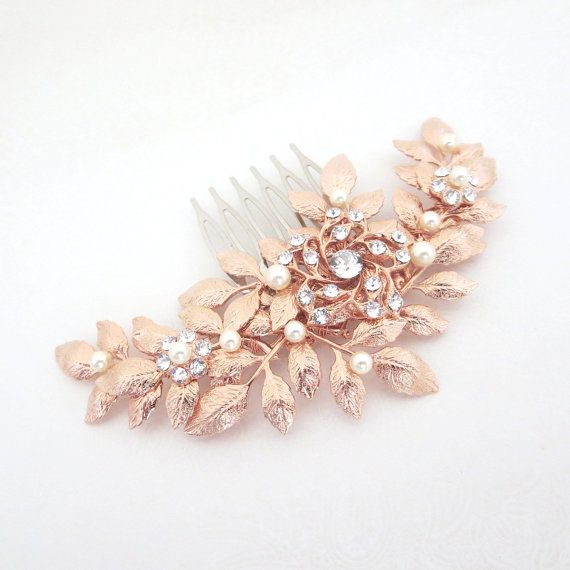 Hey, I found this really awesome Etsy listing at https://www.etsy.com/listing/225335562/rose-gold-hair-comb-bridal-hair-comb