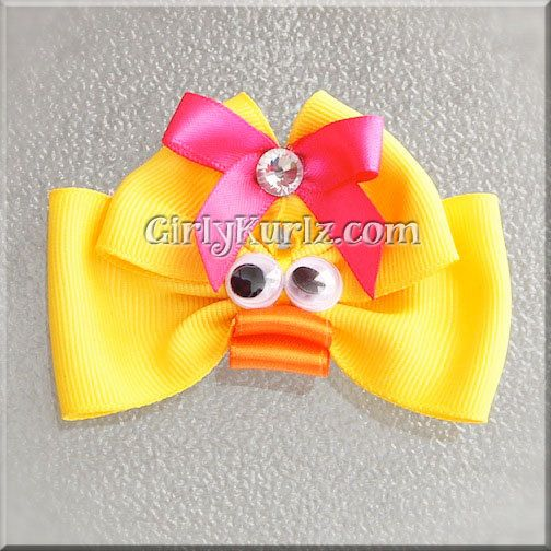 Ducky Hair Bow Easter Hair Bow Chick Hair Clip Chick by GirlyKurlz, $6.50