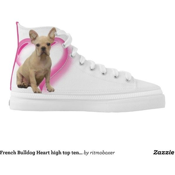 French Bulldog Heart high top tennis shoes (1.530 ARS) ❤ liked on Polyvore featuring shoes, sneakers tennis shoes, tenny shoes, tennis shoes, high top shoes and hi tops