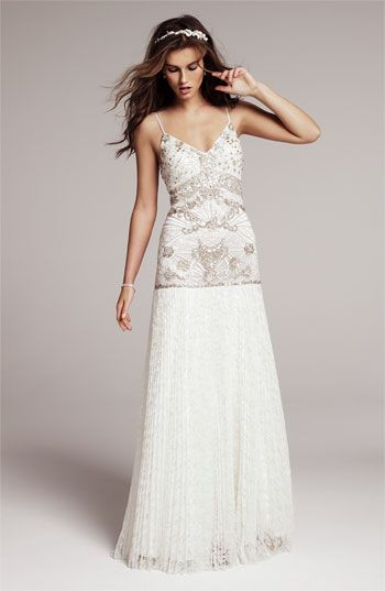 Sue Wong Beaded Bodice Drop Waist Gown | Nordstrom