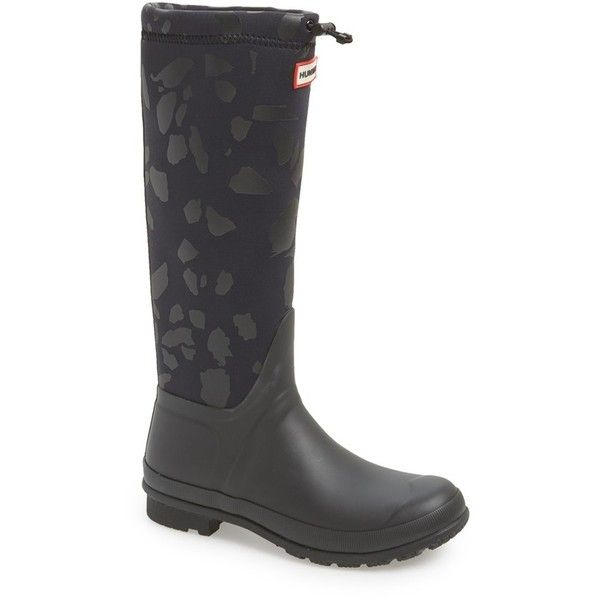 """Hunter 'Original TeazzoTour' WaterproofRain Boot, 1 1/4"""" heel ($225) ❤ liked on Polyvore featuring shoes, boots, black tonal terazzo, knee-high boots, rubber boots, black wide calf boots, wide calf knee high boots, waterproof boots and black waterproof boots"""