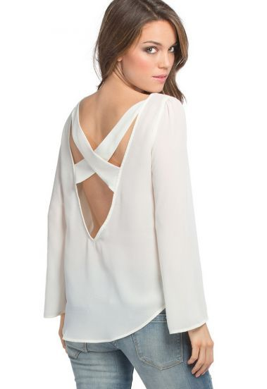 White Long Sleeve X Cut Out Back Chiffon Flowing Blouse