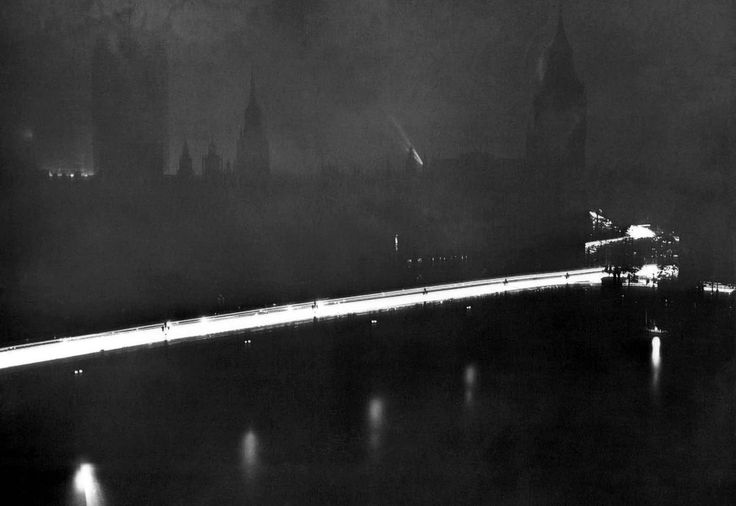 London's Westminster Bridge and the Houses of parliament, shrouded in darkness, after the great black-out began, on August 11, 1939. This blackout was the first trial conducted by the Home Office, in preparation for possible German air raids.