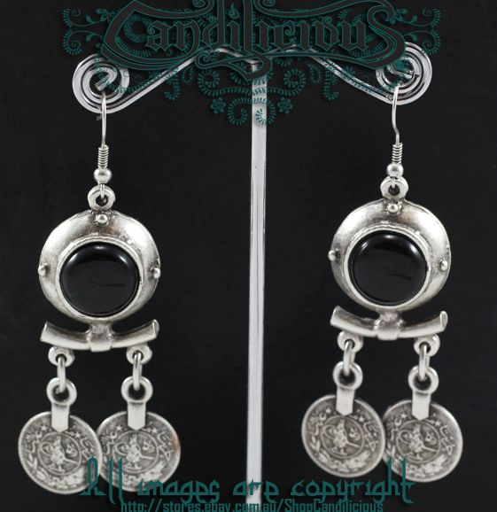 Tribal Turkish silver coin earrings