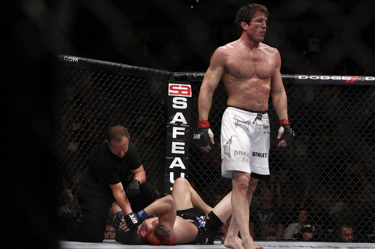 Chael Sonnen walks away after submitting Brian Stann at UFC 136 on Saturday, Oct. 8, 2011 at the Toyota Center in Houston, Texas. Saw this in person!