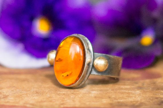 Amber and Sterling Ring with 14K Gold Accents by BuffaloLucy