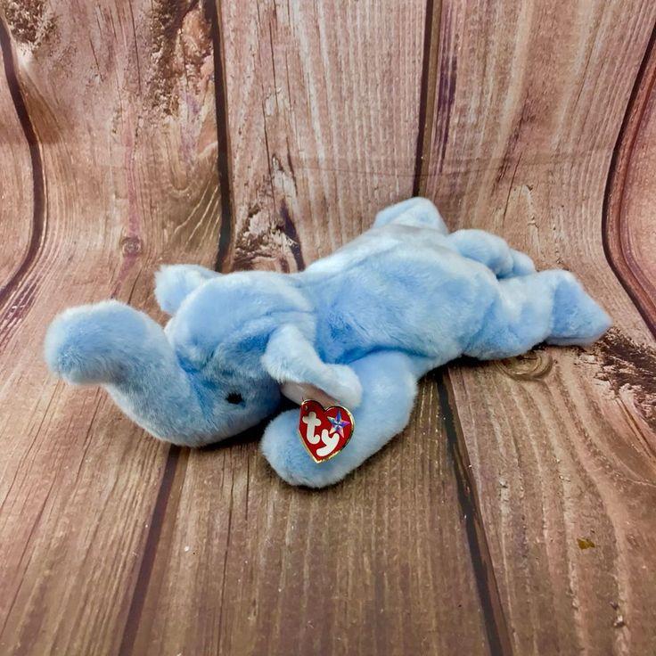 "Ty Beanie Buddy Elephant Peanut Light Blue Soft Plush Collectable Toy Teddy 18"""