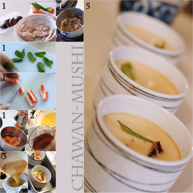 A flavoursome appetizer to tempt anybodys tummy! Chawan-mushi is a basic appetizer made with eggs with pockets of surprises within. Serves 4 Ingredients 4 great eggs 1-2 small chicken breasts 1-2 shiitake mushrooms 2 snow peas 2 artificial crab meat 1/4 carrot Formula 1) Prepare all ingredients. Soak dried shiitake mushrooms in