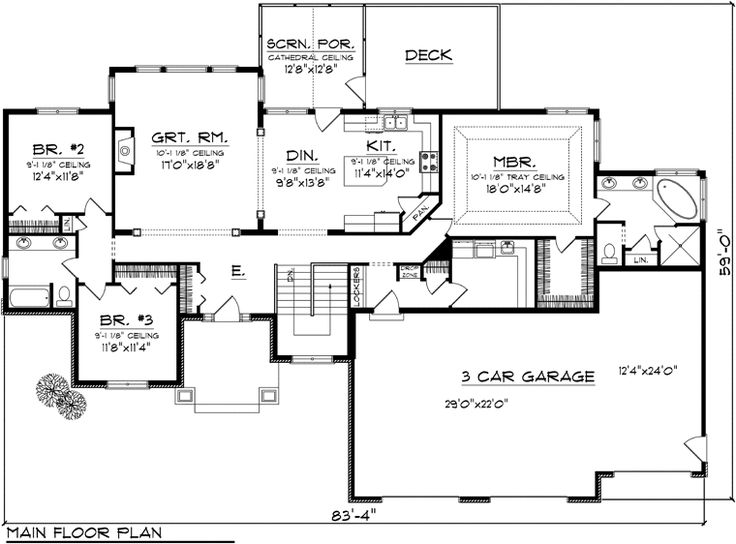 Split bedroom house plans one floor for Split ranch house plans