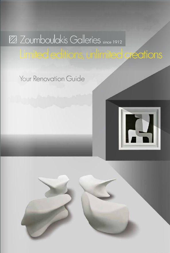 Η Γκαλερί Ζουµπουλάκη, προτείνει έναν αυθεντικό τρόπο αισθητικής αναβάθμισης εσωτερικών και εξωτερικών χώρων, ειδικά για τουριστικές επιχειρήσεις, µε επιλεγμένα έργα, που συνδυάζουν αρµονικά την ελληνική τέχνη µε το σύγχρονο design.  Δείτε τη μπροσούρα εδώ: http://issuu.com/zoumboulakis.gr/docs/zoumboulakis_galleries_hotel_brochu/1