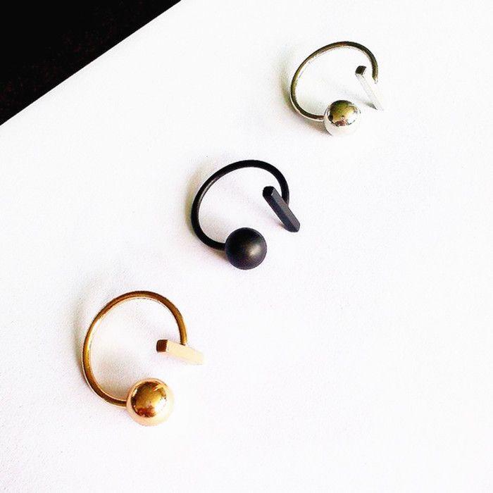 Ladies fashion  wholesale copper Simple minimalist punk a word three-dimensional sphere ring Ladies fashion ring