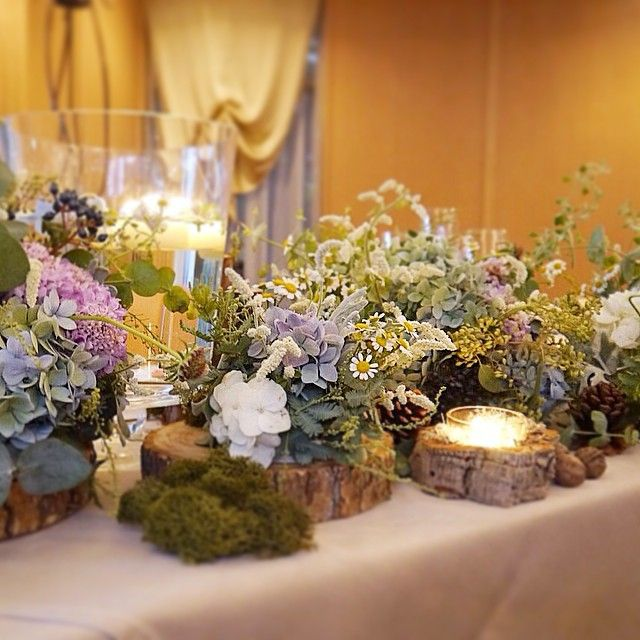 2014.12.2. * メインテーブル装花❁ * キャンドルがチャポンと水に浮かべられてるのも可愛い…♡…