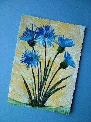 Craft Ark Project - Encaustic Art - Cornflowers - I had never heard of encaustic art before but it looks fun