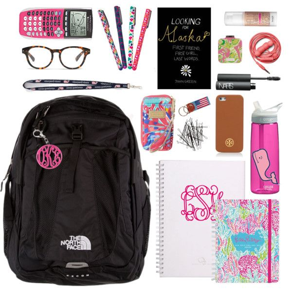 what's in my bookbag, almost finals edition, created by classically-preppy on Polyvore