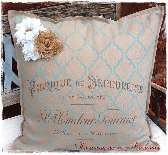 Un rincón de mi: Tutorial como realizar flores vintage.....Stencil en cojín
