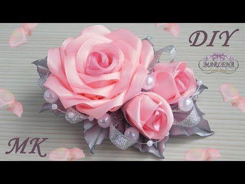 hand made Как сделать розу Канзаши_rose kanzashi - YouTube