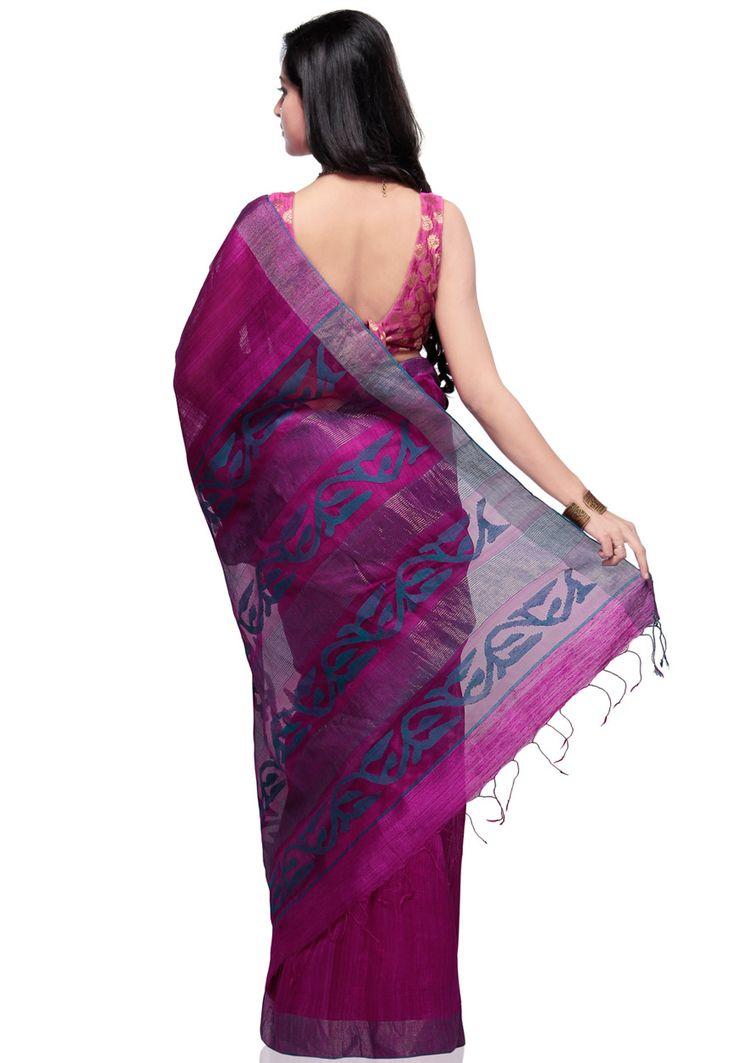 Magenta Matka Silk - back  http://www.utsavfashion.com/saree/magenta-pure-matka-silk-bengal-handloom-saree-with-blouse/saba22-itemcode