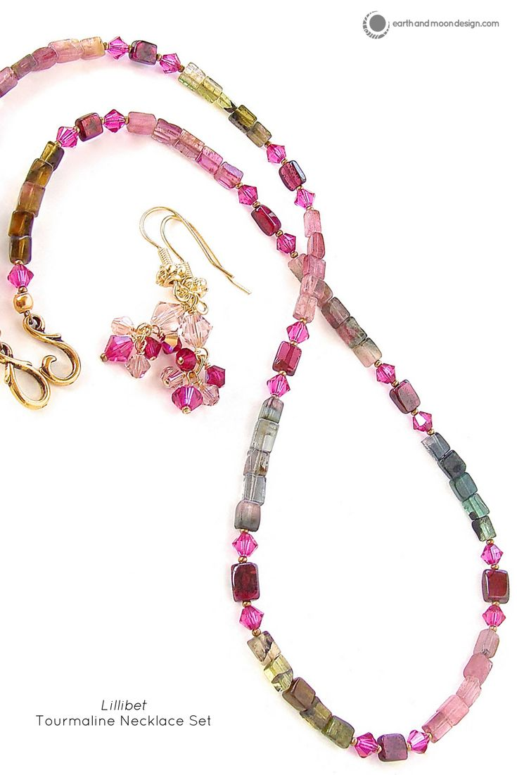 "Add a lovely dash of luxury to your look with this dainty gemstone necklace of mixed tourmaline, garnet and Swarovski crystal. Full length 17"". This tourmaline necklace showcases beautiful varieties o"