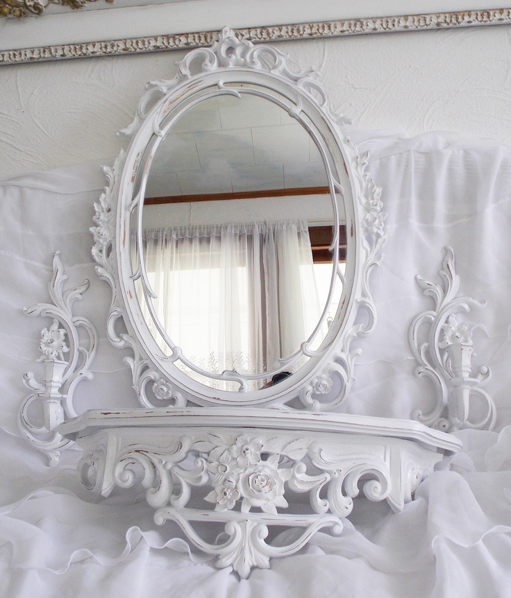 Rococo Style White Vintage Syroco Mirror With Sconces And