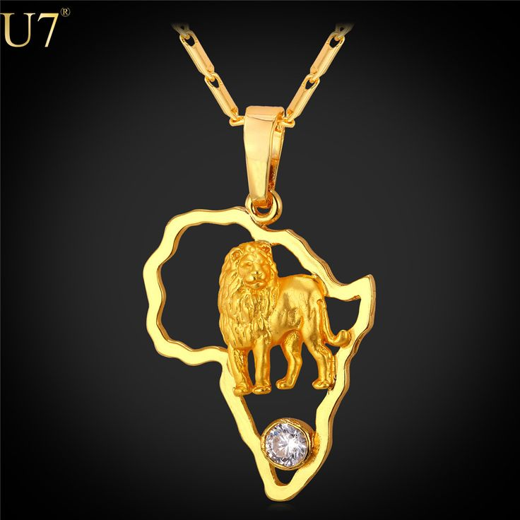 U7 2016 Gold Lion Necklace for Men Hollow Crystal Gold Plated  African Jewelry Women African Map Necklaces P783-in Pendant Necklaces from Jewelry & Accessories on Aliexpress.com | Alibaba Group