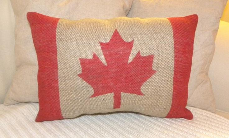 Burlap Canada flag pillow. $24.50, via Etsy.