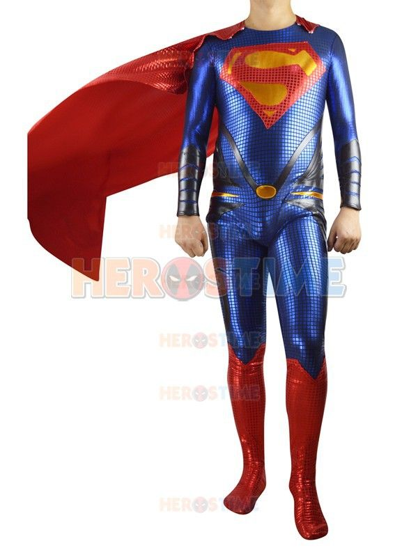 2015 Man of Steel Superman Costume red and blue shiny metallic full body Superman costumes halloween costume