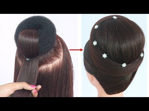 new juda hairstyle with gown || hairstyle for medium hair || party hairstyle | hairstyle for wed ...