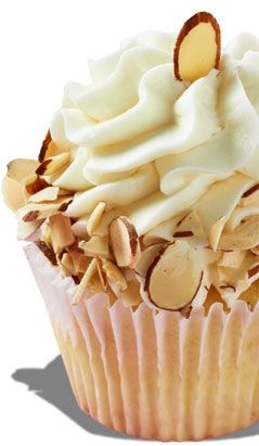 Amaretto Amore Cupcake with an amaretto cream cheese frosting, rimmed with toasted almonds.