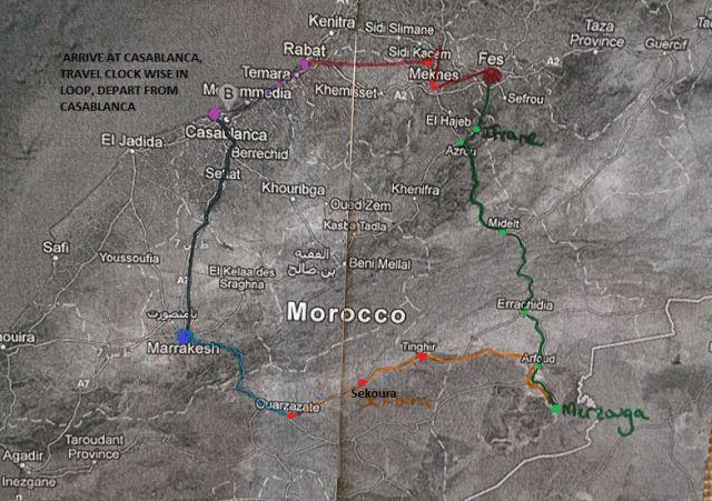 Magical Morocco - A Tour of Morocco in 10 Days. Worcester State University Faculty Led Study Abroad Program - 2013.  Cities visited: Casablanca, Rabat, Meknes, Ruins of Volubilis, Moulay Idriss, Ifrane, El Hajeb, Azrou, Midelt, Errachidia, Arfoud, Merzouga, Tinghir, Sekoura, Ouarzazate, Marrakesh.