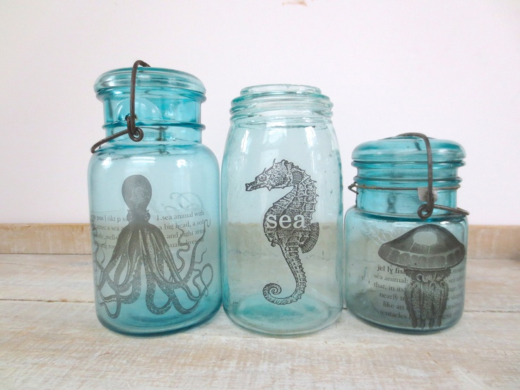 Octopus Print // Blue Mason Jar // Beach House Home Decor // Apothecary Bottle // Coastal Ocean Sea Side via Etsy.